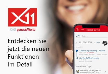 Bannergrafik zur Einführung der neuen Version CAS genesisWorld x11