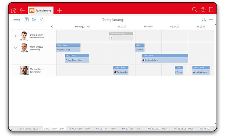 Screenshot zur intelligenten Teamplanung in CAS genesisWorld x11
