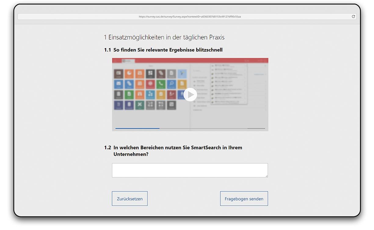 Screenshot zur Einbettung von Videos bei Umfragen in CAS genesisWorld x11