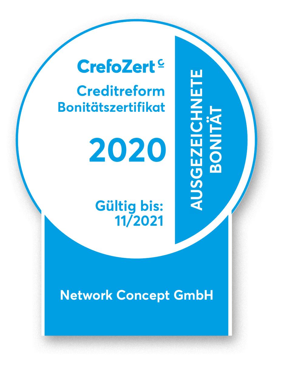 Rosette CrefoZert Bonitätszertifikat 2020