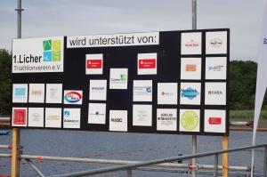 Bild der Sponsorenplakette beim Licher Triathlon 2016