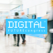Messeszene mit dem Logo des DIGITAL FUTUREcongress