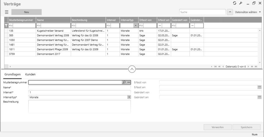 Screenshot der neuen Oberfläche der Vertragsverwaltung