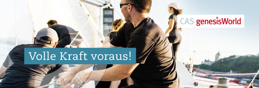 """CAS genesisWorld Vorteilsaktion zum Jahresende: Bild von einer Segelmannschaft in Aktion - als Headline """"Volle Kraft voraus!"""""""