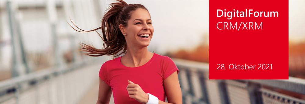 Bild von einer Sportlerin im roten T-Shirt beim Joggen – dazu das DigitalForum CRM/XRM-Logo und das Datum 28. Oktober 2021 auf einem roten Kasten