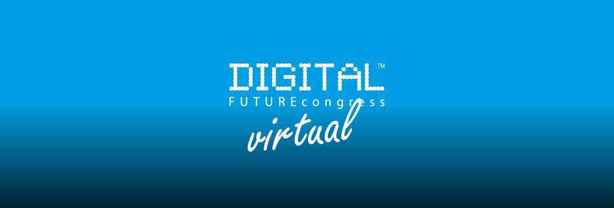 Bild vom Messelogo des DIGITAL FUTUREcongress virtual 2021 auf einem blauen Hintergrund mit Verlauf