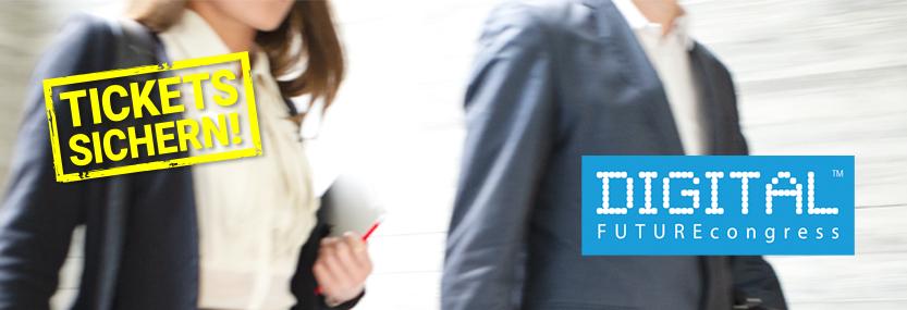 Messeszene mit dem Logo des DIGITAL FUTUREcongress