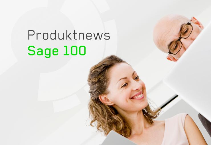 """Bild von Mann und Frau am Laptop mit der Überschrift """"Produktnews Sage 100"""""""