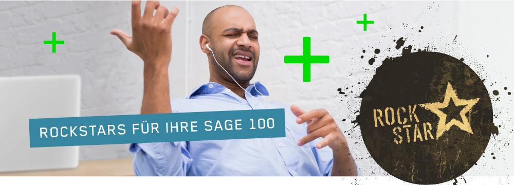 """Bild von Mann im Office, der Luftgitarre spielt, um ihn herum fliegen grüne Pluszeichen - dazu das Rockstar-Logo und die Headline """"Rockstars für Ihre Sage 100"""""""