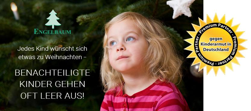 """Kleines Mädchen wartend vor dem Weihnachtsbaum, Überschrift """"Benachteiligte Kinder gehen oft leer aus"""", Premium-Partner Logo """"Gegen Kinderarmut in Deutschland"""""""
