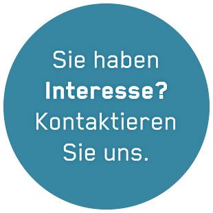 """Button mit dem Text """"Interesse? Kontaktieren Sie uns."""""""