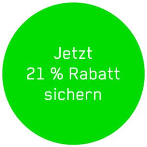 """Ein grüner Button mit dem Text """"Jetzt 21% Rabatt sichern"""""""