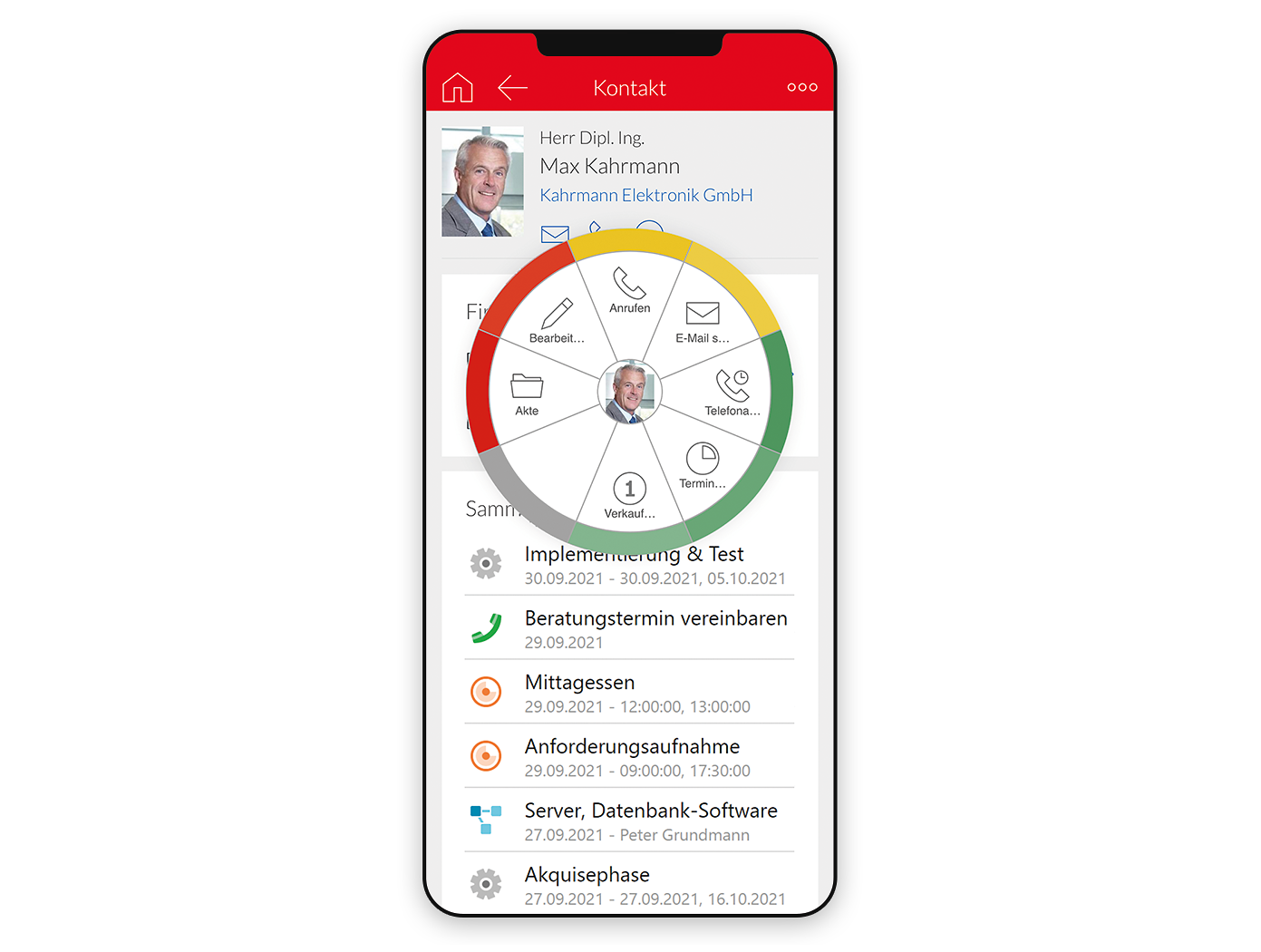Screenshot Smartphone Kundenakte mit Radialmenü in x13