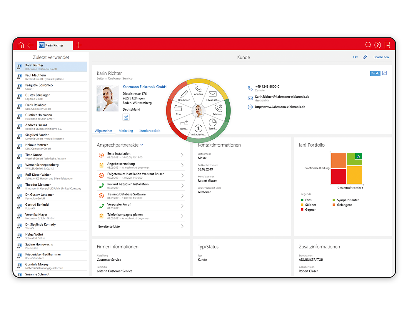 Screenshot Desktop Kundenakte mit Radialmenü in x13