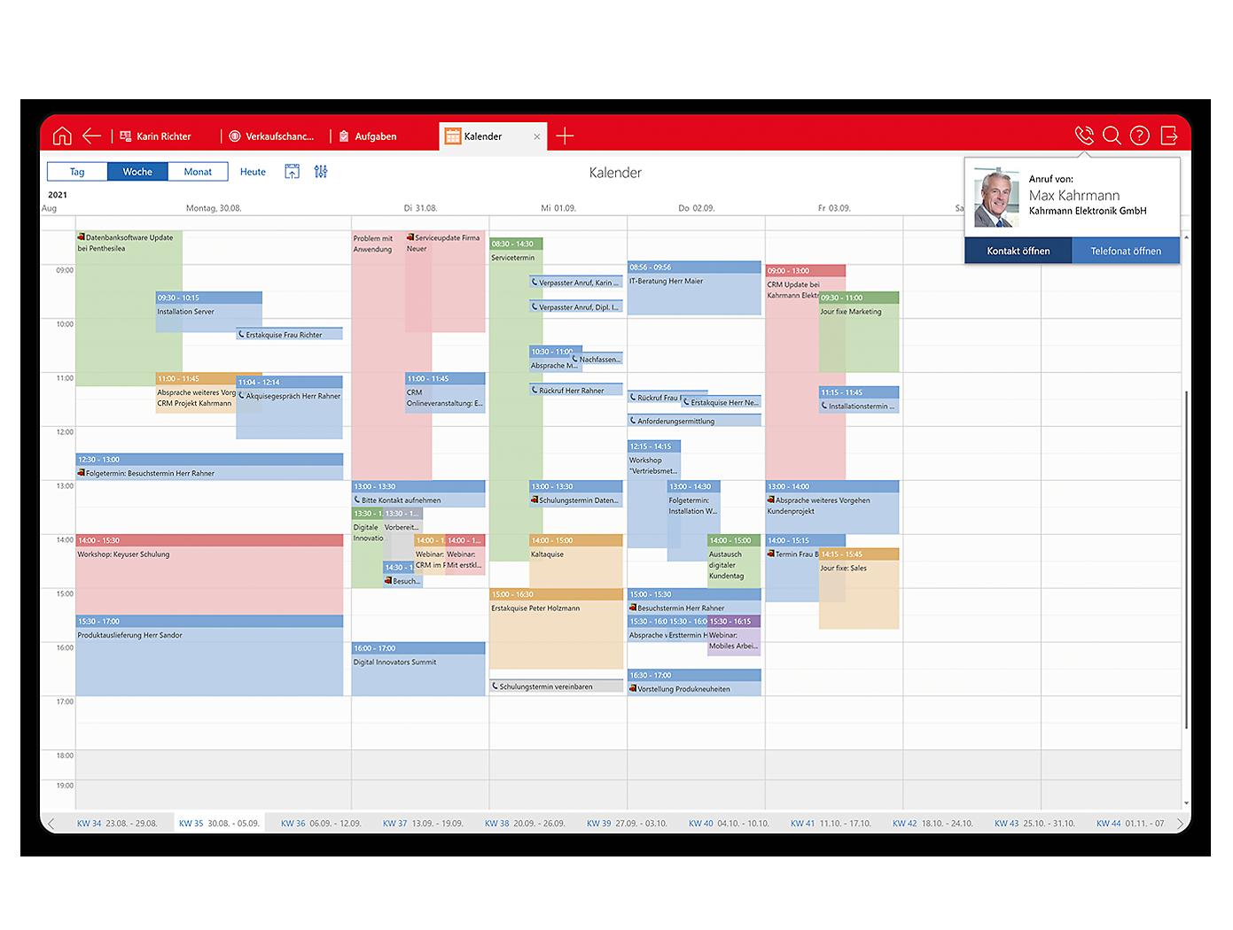 Screenshot Desktop Teamkalender mit MS Team Integration in x13
