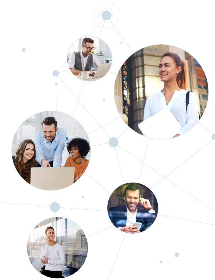 Collage von mehreren Businessbildern, auf denen Personen mit unterschiedlichen Geräten arbeiten – alle Bilder sind durch ein grafisches Netz miteinander verbunden