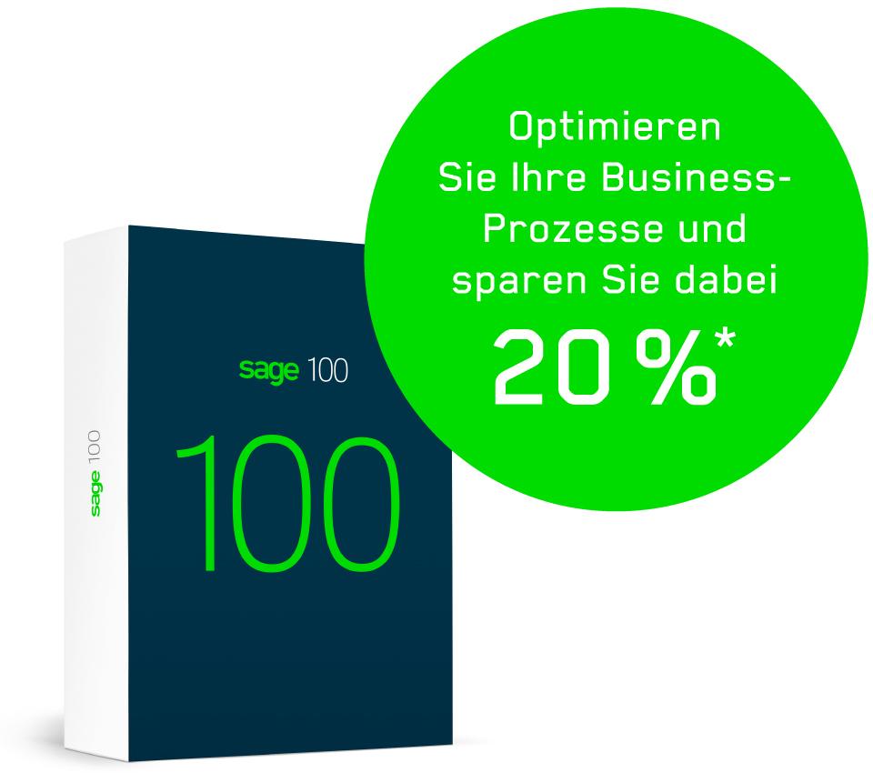 """Bild eines Packshot der Sage 100 mit grünem Infobutton - als Headline im Button """"Optimieren Sie Ihre Business- Prozesse und sparen Sie dabei 20 %"""""""