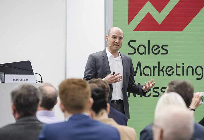 Bild vom Vortrag von Herrn Marcus Bär (CAS) auf der Sales Marketing Messe 2019