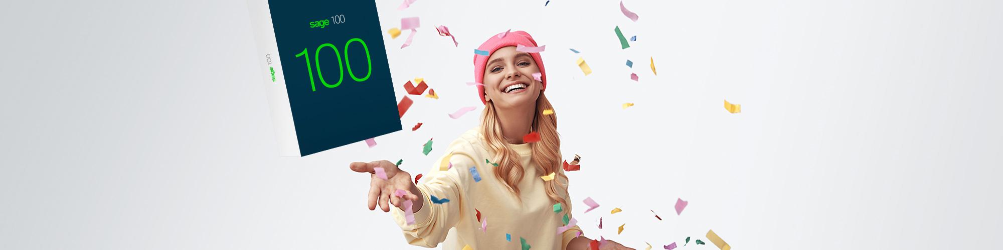 Bild einer jungen Frau, die das Sage 100 Package und Konfetti in die Luft wirft