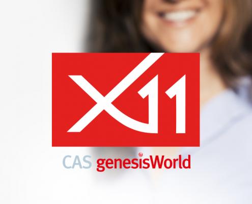 Logo und Imagebild CAS genesisWorld x11 mit Schriftzug