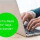 """Bild von tippenden Händen am Laptop, grüner Button mit dem Text """"Ihre Sage 100 und Stichtag 1. Januar 2021"""""""