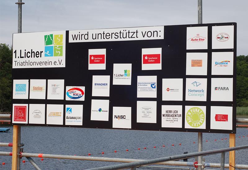 Foto von der Spendentafel Licher Triathlon